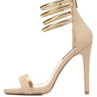 Dollhouse Gold-Plated Stacked Ankle Strap Heels - Nude