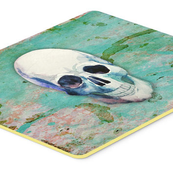 Day of the Dead Teal Skull Kitchen or Bath Mat 24x36 BB5123JCMT