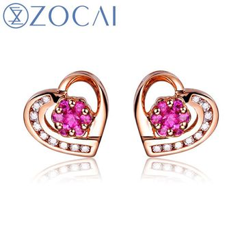 18KT Rose Gold Ruby Gemstone 0.17 CT Certified Ruby Stud Earrings with 0.1 CT Diamond