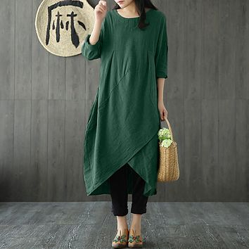 Vintage Cotton and Linen dress women Autumn long sleeve loose midi dress Sexy o neck baggy dress Tunic vestido
