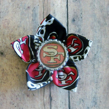 NFL Themed Flower Alligator Clip with Bottle Cap Center-San Francisco 49ers