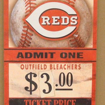 "CINCINNATI REDS GAME TICKET ADMIT ONE GO REDS WOOD SIGN 6""X12'' NEW WINCRAFT"