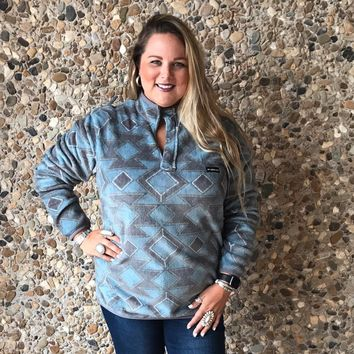 Turquoise & Gray Southern Marsh Pullover