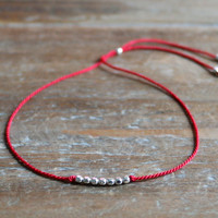 New Anthropologie Handmade Friendship Skinny Thin 100% Silk Thread Cord 925 Genuine Sterling Silver Faceted Round Beads Bracelet Gift Red