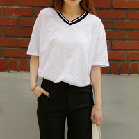 White Pinstripe V-Neck Short Sleeve T-Shirt
