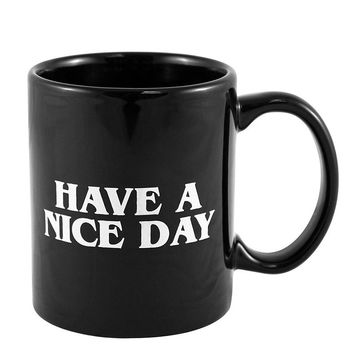 White Black Middle Finger Funny Coffee Mug