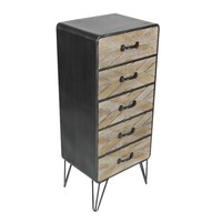 Country Style 5 Drawer Metal Wood Chest