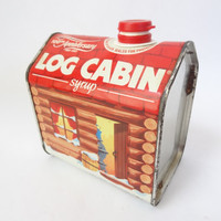 vintage tin box container kitchen decor Log Cabin Syrup