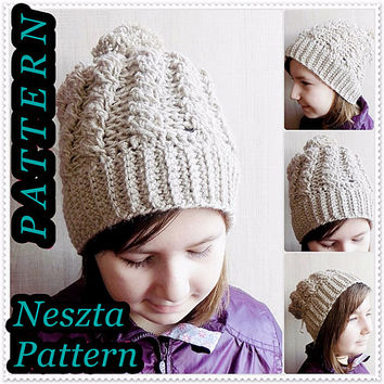 Crochet pattern, crochet cable slouchy hat pattern, 2in1 crochet hat pattern, child, teen, adult sizes