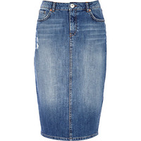 River Island Womens Mid wash denim pencil skirt