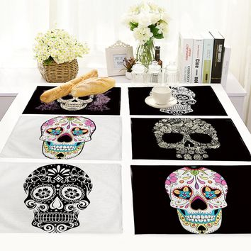 26 Kinds of Colorful Skull New Fashion Dining Table Placemat Europe Style Kitchen Decor Tableware Pad Coffee Coaster