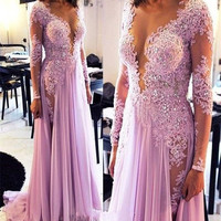 Sexy Deep V Neck Violet Chiffon Prom Dress Appliques Beaded Side Slit Formal Party Evening Dress with Long Sleeve Robe De Soiree