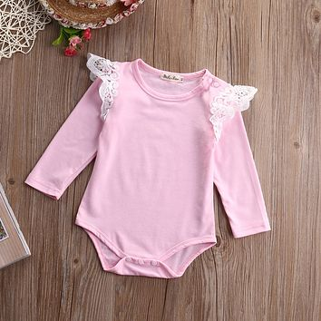 Autumn Newborn Infant Baby Kids Girl Clothes Long Sleeve Cotton Romper Lace Splice Jumpsuit Outfits