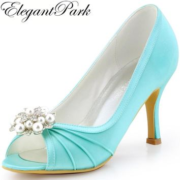 Woman Shoes Mint High Heel Evening Pumps Clips Satin Bridesmaid Bride Wedding Bridal Shoes EP2094AE Green High Heel Woman Shoes