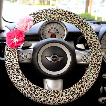 Car Steering wheel cover-White leopard w/ Chiffon Flower, Unique Automobile Accessories, Car Decor, Automobile Wheel cover, Valentine Gift