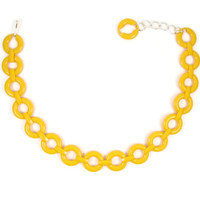 Hello Yellow - Mod Vintage 1960s Yellow Plastic Belt with Chunky Circle Links, Drop Waist Style with Chain, Size Small