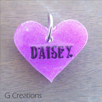 Purple Heart Dog ID Tag 3.8cm - Glow in the DARK Waterproof Resin Dog ID Pet Tag - Handmade Kawaii Dog Collar Accessory - Dog Necklace Bling