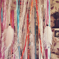 Bohemian Dreamcatcher Bed Canopy - Boho Nursery Decor - Indian Elephant Style - Baby Crib Crown - Gypsy Bedroom Decor - Made to Order