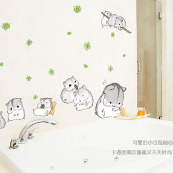 Cute little hamsters PVC can remove children room fun stickers to stick on the wall SM6