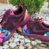 Custom Men Nike Roshe Run Black Villian Red Tahitian Floral Print