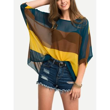 Color Block Semi-Sheer Poncho Blouse MULTICOLOR