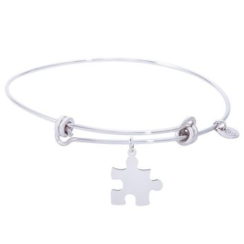 Sterling Silver Balanced Bangle Bracelet With Puzzle Piece Charm