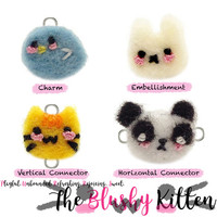 The Blushy Friends Felt Embellishments, Charms, Connectors, Customised Felt Animal Steel Craft Supplies with Mini Felt Shopping Bag, Animals