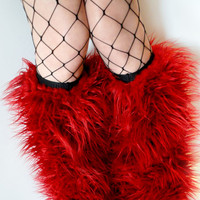 MADE TO ORDER Rave Fluffies red fluffy legwarmers monster fur furry bootcovers fuzzy boots gogo festival costume leggings
