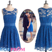 Short Royal Blue Lace Homecoming Dress On Sale-Gorgeous A-line/Princess Scoop Empire Affordable Best Homecoming Dresses 8098