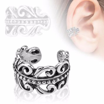 Carved Swirls Rhodium Plated Brass Non Piercing WildKlass Ear Cuff (Sold by Piece)