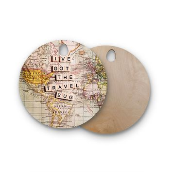 """Sylvia Cook """"Travel Bug"""" Map Round Wooden Cutting Board"""