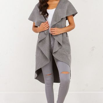 AKRIA Felt Trench Jacket Vest With Wide Collar and Tie Belt Closure in Cream, Grey, and Black