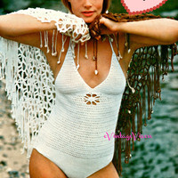 Sexy Shell-Lavished SHAWL   INSTANT DOWNLOAD pdf Vintage 1970s Crochet Pattern   maillot companion maillot swimsuit vacation summer sun fun