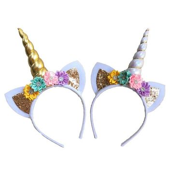 Cute Party Unicorn Horn Headband Hairpin Birthday Party Head Bands Supplies