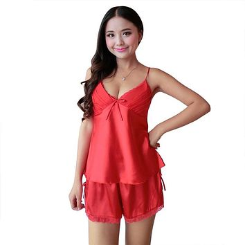 Women Satin Lace Robe Shorts Babydoll Sleepwear Nightwear 2pcs Pajamas Set New