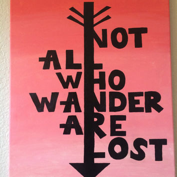 Hand painted ombre arrow canvas