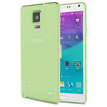 Samsung Galaxy Note 4, Clear Light Green Slip-on Protective TPU Case Cover