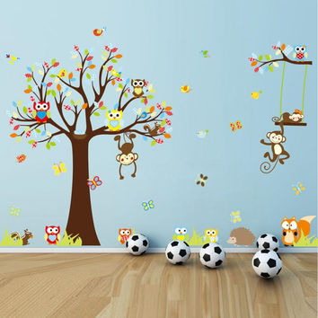 Hot Sell Fashion Cute Monkeys Playing On Trees Wall Stickers ForKids Rooms Decorative Removable PVC Wall Decal DIY