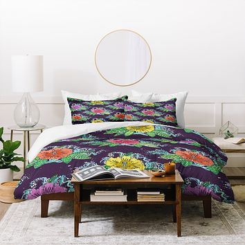 Sharon Turner Hibiscus Surf Grape Duvet Cover