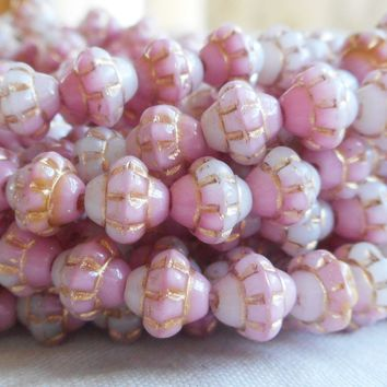 Lot of 25 small 5mm x 6mm saturn or saucer beads, opaque pink, white and amber mix with gold accents, Czech glass spacer bead C7625
