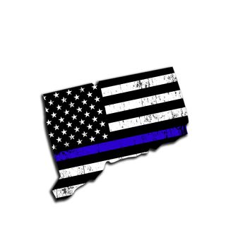 Connecticut Distressed Subdued US Flag Thin Blue Line/Thin Red Line/Thin Green Line Sticker. Support Police/Firefighters/Military
