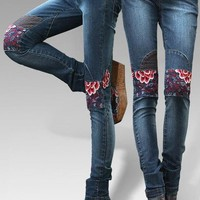 Embroidered long jeans /embroidery jean pants/ladies jean pants, blooming peony HM0044-07 from Time Memory