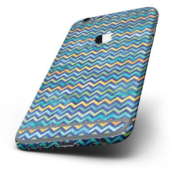 The Blue GreenYellow and Orange Watercolor Chevron Pattern Six-Piece Skin Kit for the iPhone 6/6s or 6/6s Plus