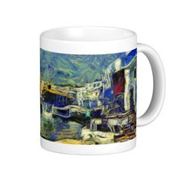 Harbor Cafe in Mykonos Greece KPA Classic White Coffee Mug
