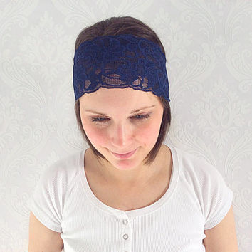 Navy Lace Headband, Stretch Lace, Lace Sweatband, Indi Fashion Accessory, Bridal Lace Headband, Shabby Chic Lace Headband, Hippie Wedding