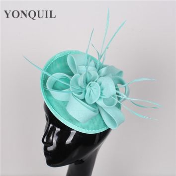 High quality 15color emerald green church headwear sinamay fascinators hats wedding hair accessories party hat bridal headpieces