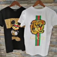 GUCCI Bust Mickey Mouse Print Back Embroidered Tiger Short Sleeve T-shirt Top Black White two color