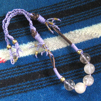 Quartz Purple Braided Necklace Bohemian Jewelry Gypsy Jewelry