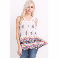 Strappy Floral Print Sleeveless Top