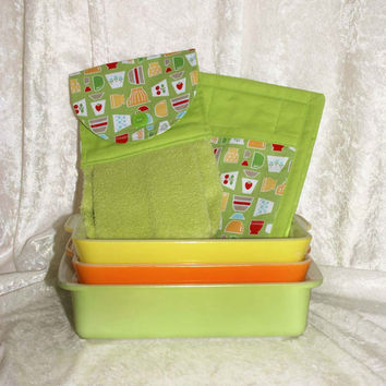 3 Piece Kitchen Set • Handmade Hanging Hand Towel • 2 Potholders • Vintage Pyrex Bowls • Retro Fire King Tulips • Green Strawberry Cherry